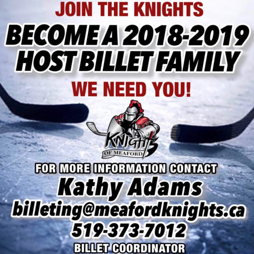 Knights of Meaford Billets for 2018/2019 Season